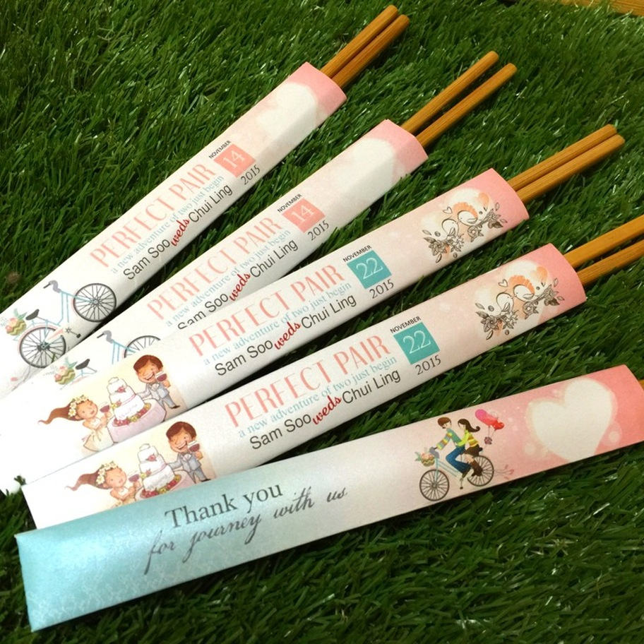 Personalized Chopstick Sleeve Unique Wedding Favors Door Gifts