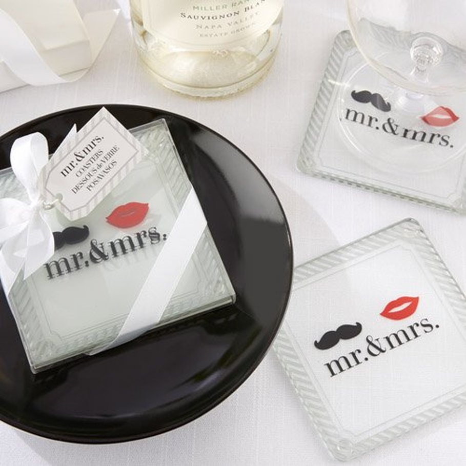 Mr. & Mrs. Glass Coasters - Unique Wedding Favors & Door Gifts with ...